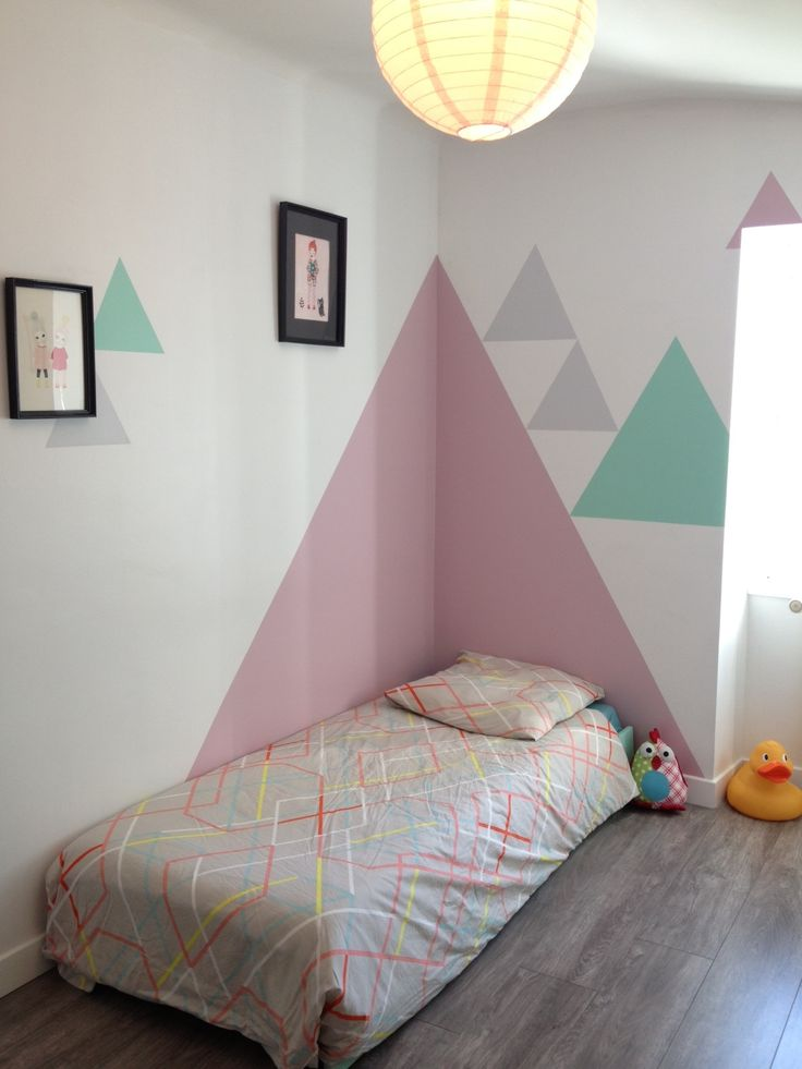 Triangles on the wall mommo design - Wall painting ideas for bedroom ...