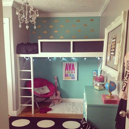 Girly loft beds mommo design - Ikea bunk bed room ideas ...