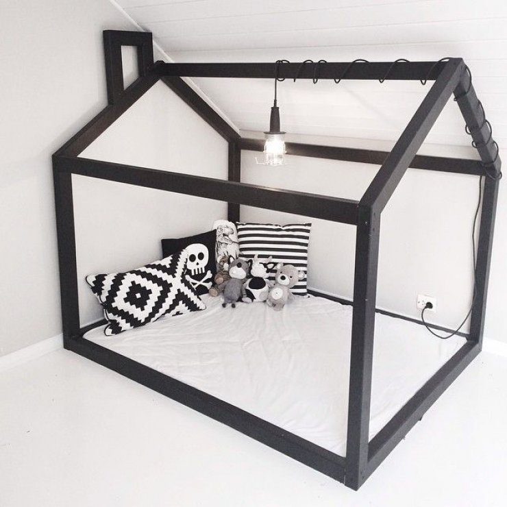 black frame house bed for kids