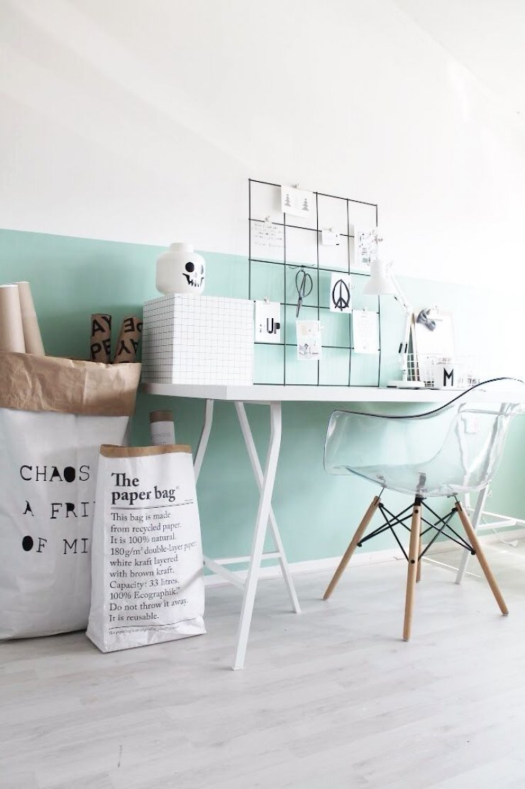 Ikea desk and mint wall