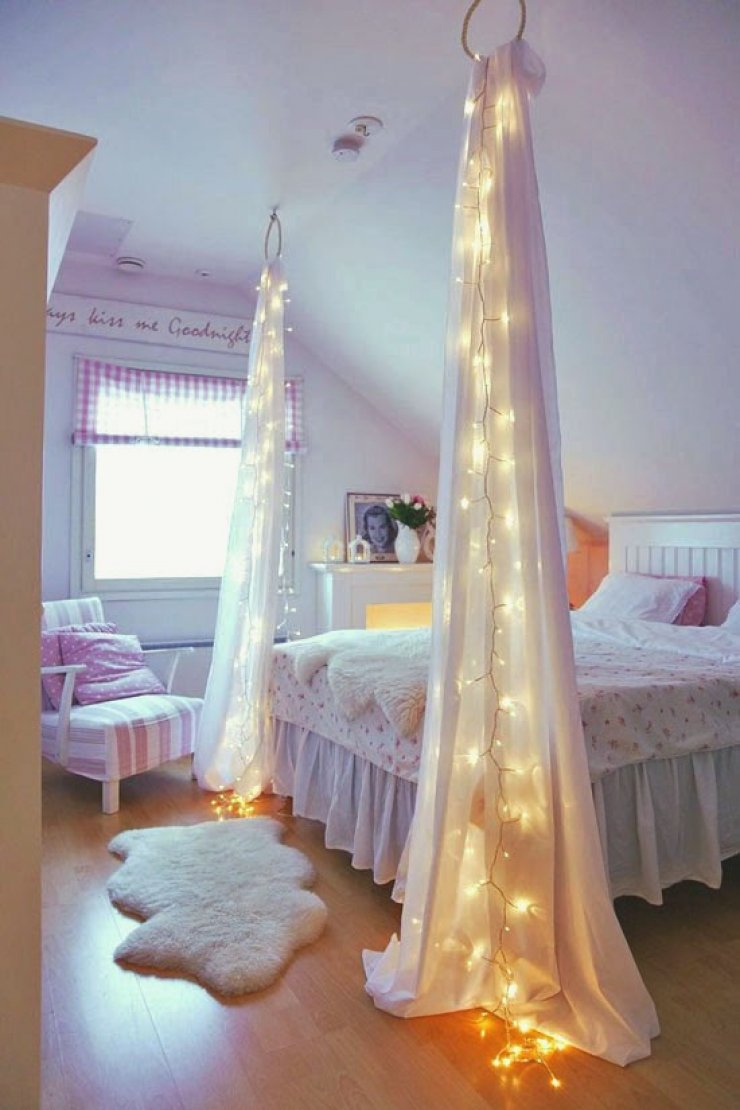 Fairy Lights With Curtains In A Girly Room