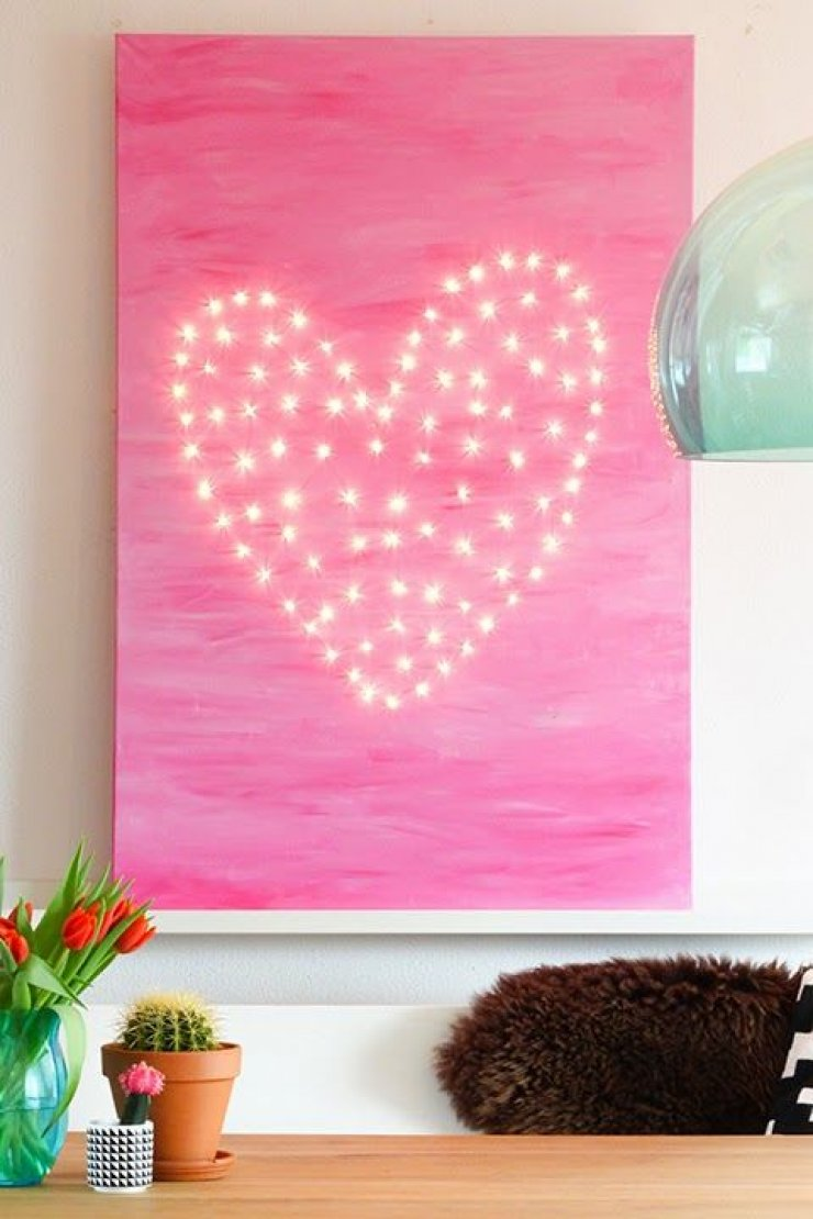 Heart of lights on a canvas