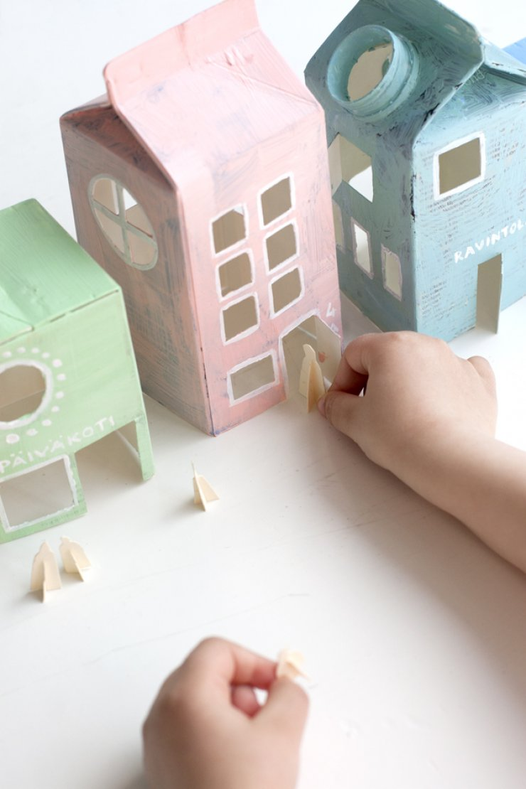 Milk carton pastel village