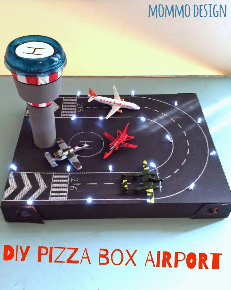 pizza box recycled in a toy airport