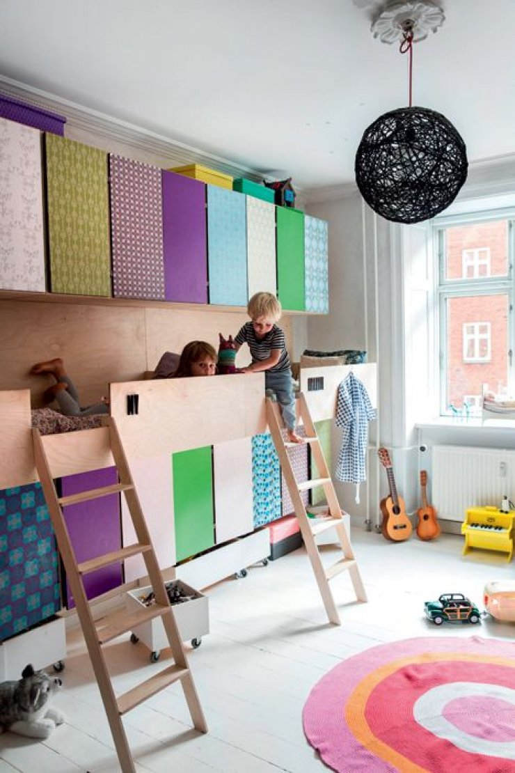 shared kids room with storage beds