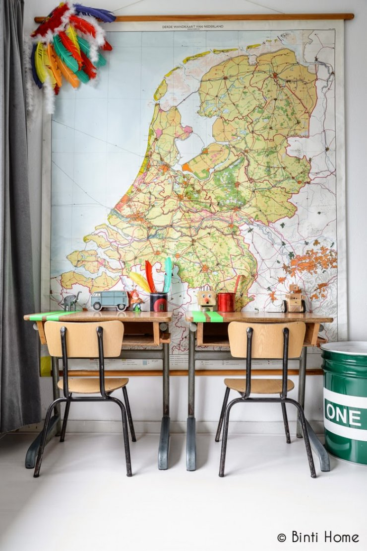 vintage desks for kids and large map