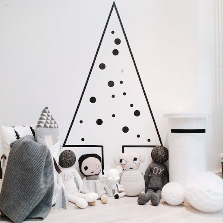 washi tape christmas tree decorated with black dots