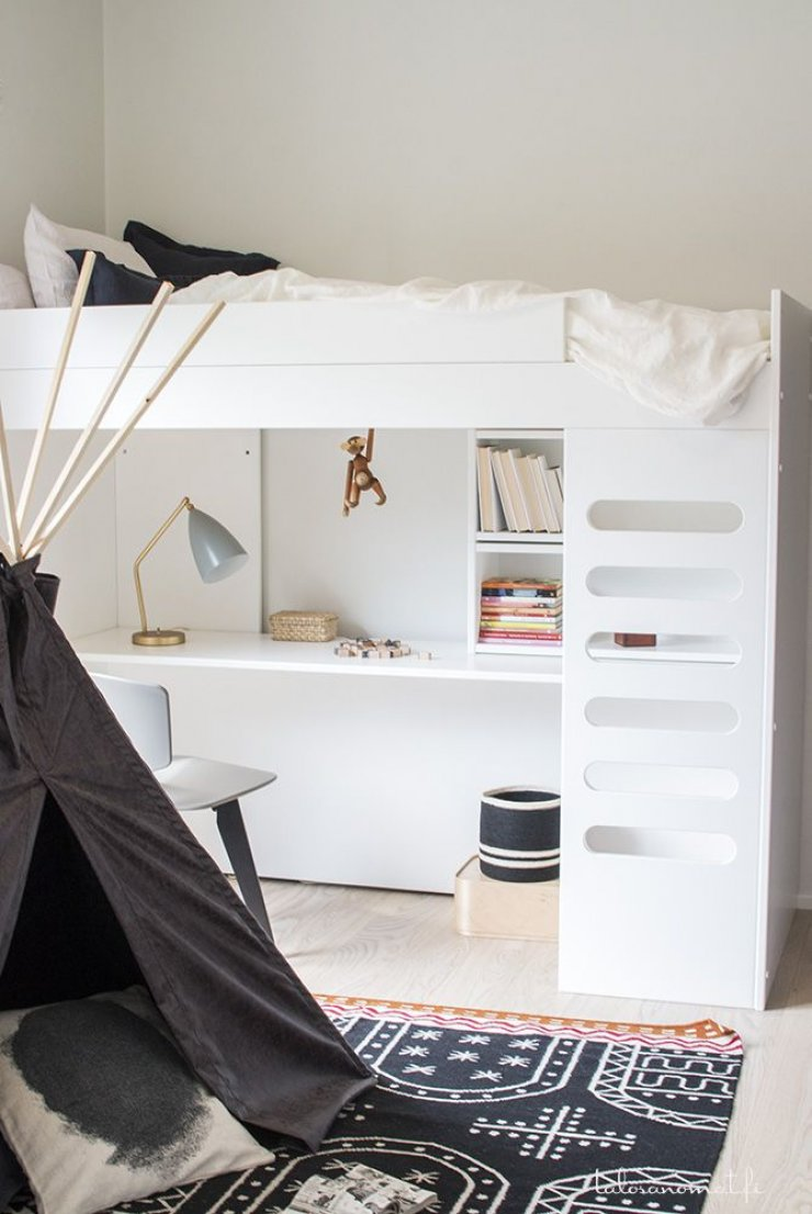 white loft bed with desk