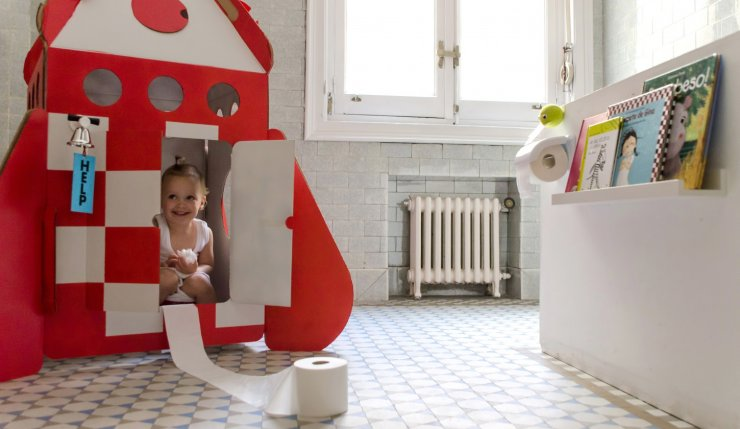 A rocket on the toilet for kids