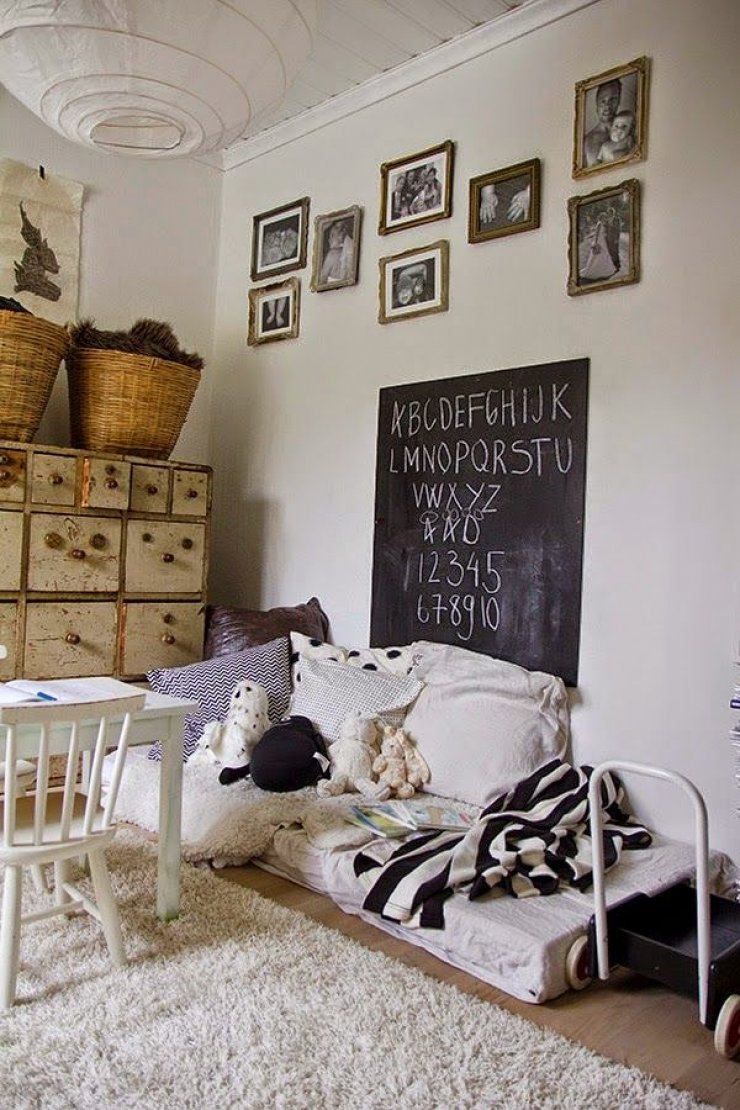 Floor Bed In A Vintage Kids Room