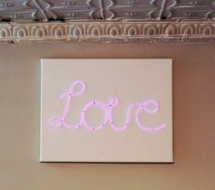 DIY neon love sign on a canvas