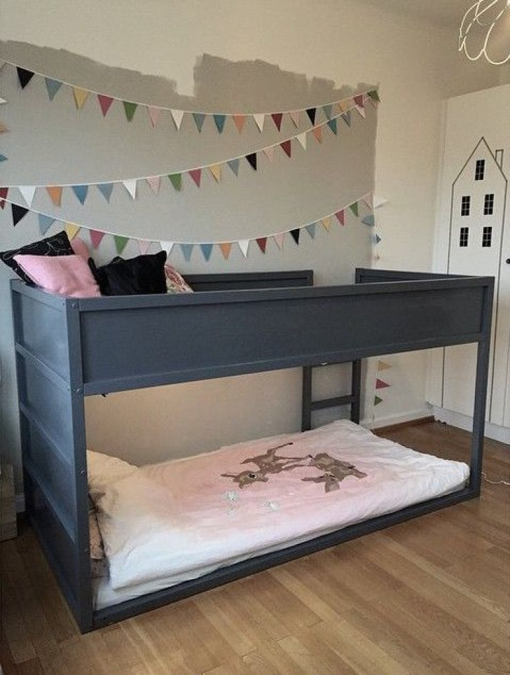 Ikea Kura bed painted in grey