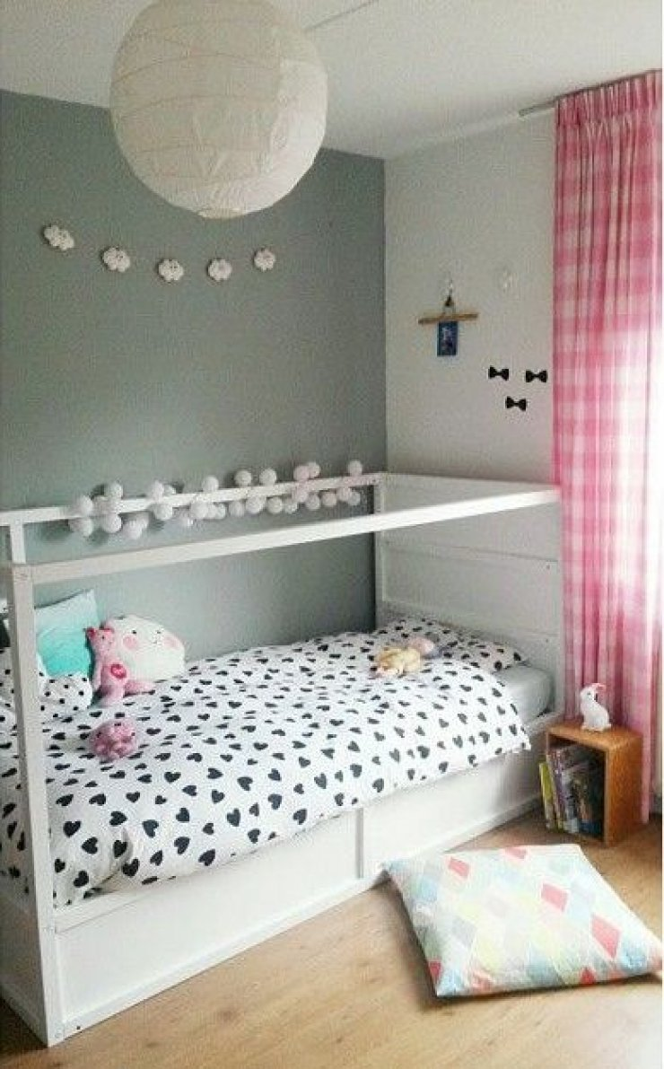 Ikea Kura bed painted in white