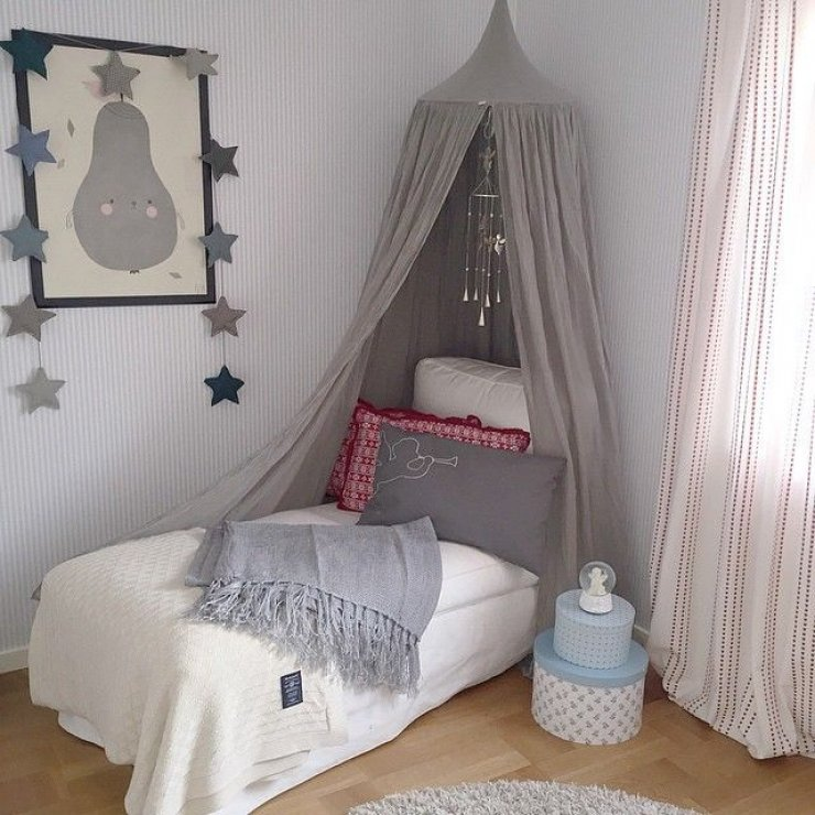 grey canopy in a girls room