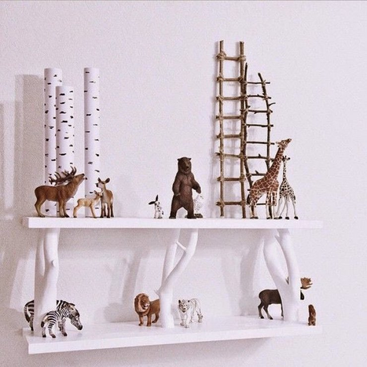 DIY branch shelves