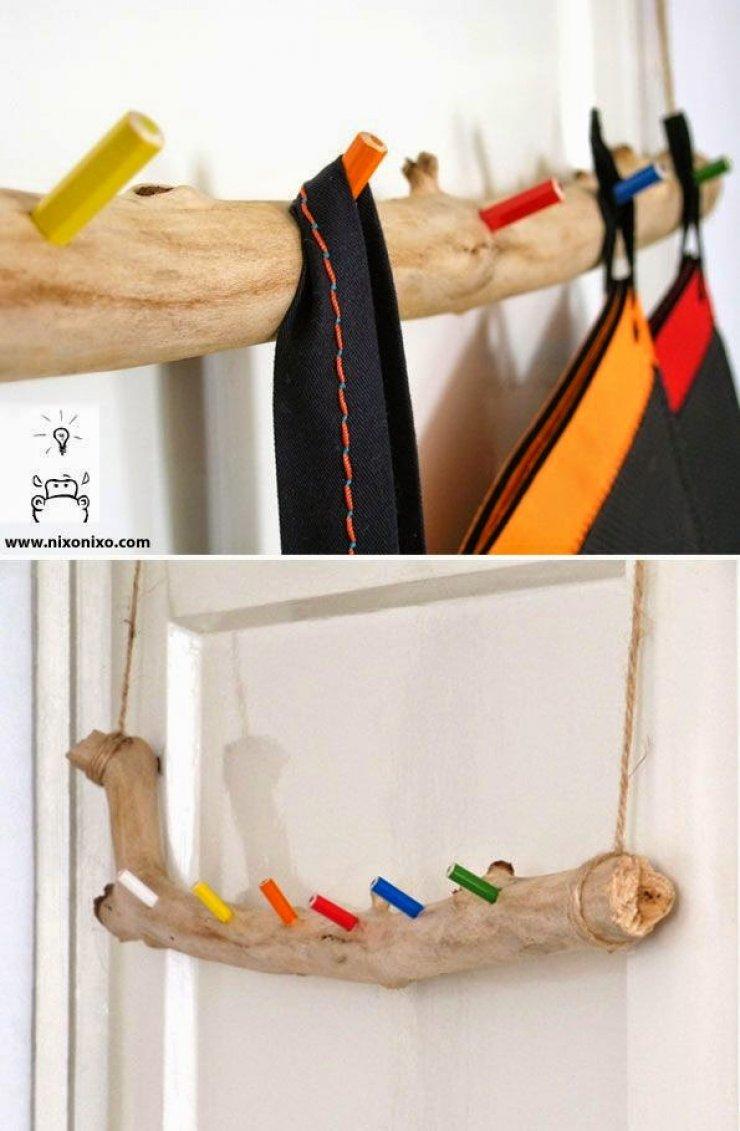 DIY branch and pencils cloth hanger