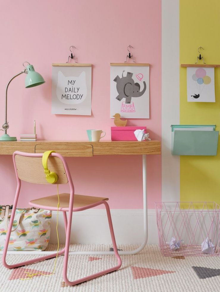 pink and yellow wall for a desk area