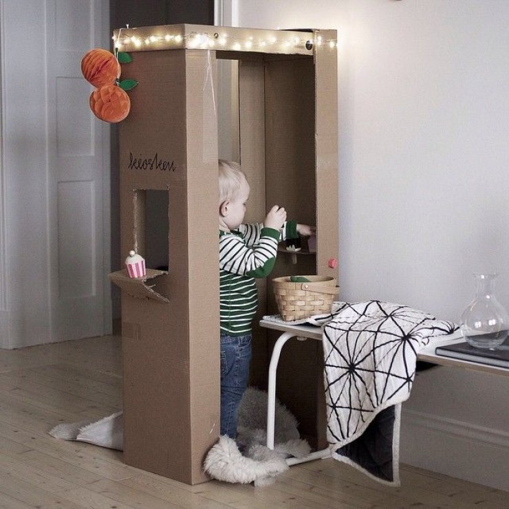 DIY cardboard play shop