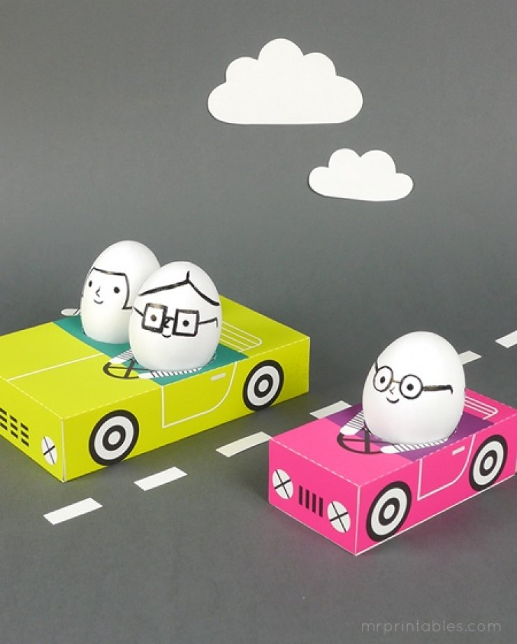 Printable Easter eggs cars
