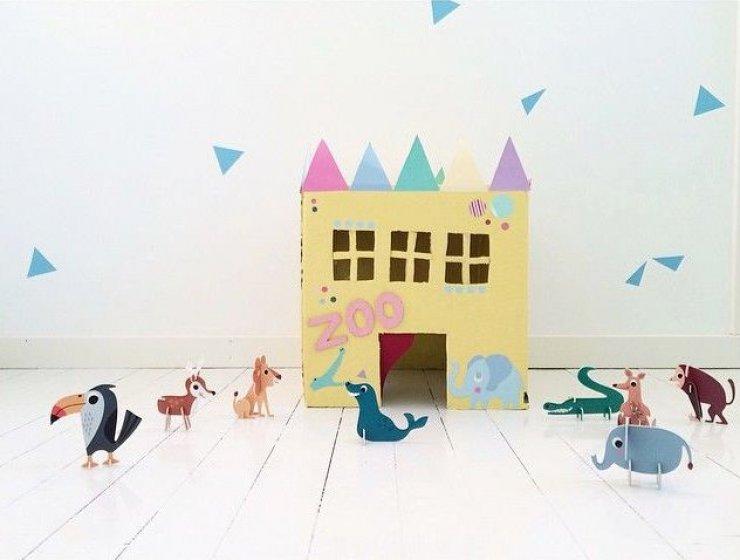 DIY cardboard zoo