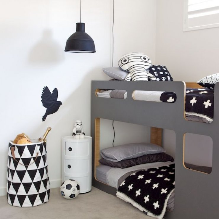 grey low bunk bed