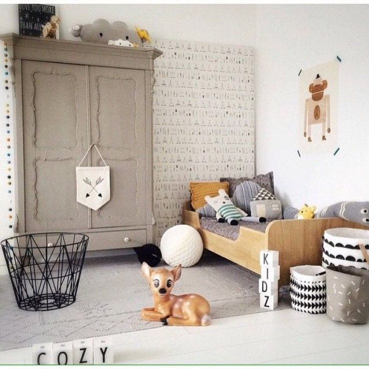 Grey kid 39 s rooms mommo design Vintage childrens room decor