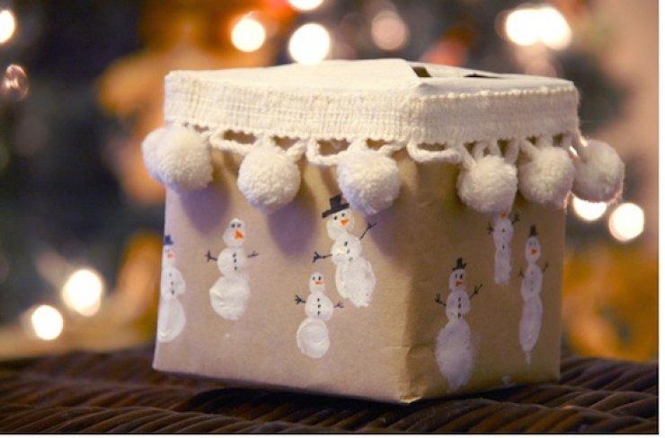 Diy fingerprint snowman wrapping paper