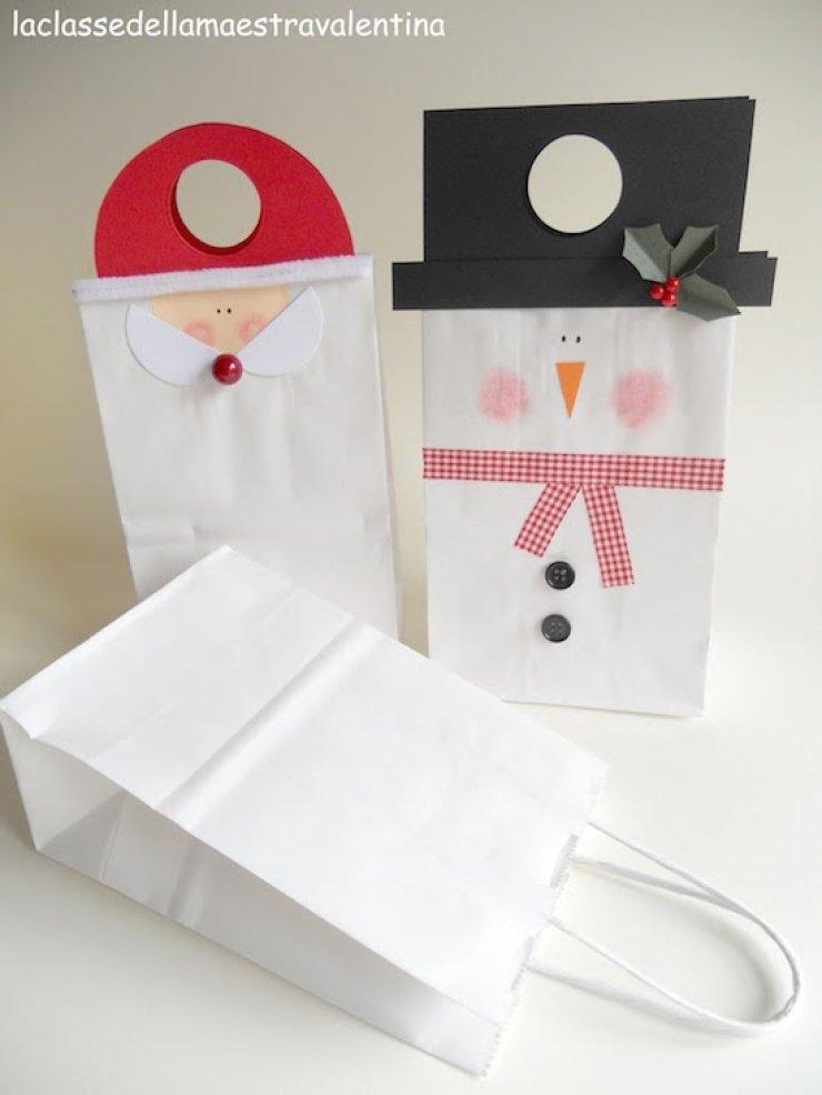 diy santa and snowman gift bags
