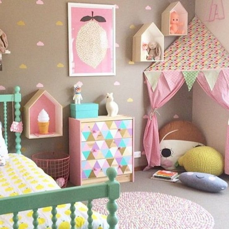 girly reading corner with a tent