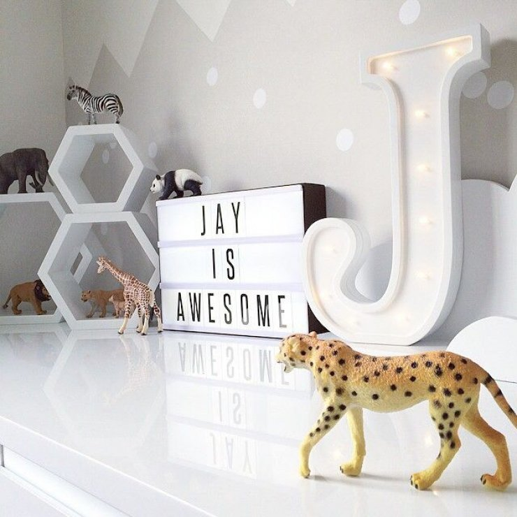 J marquee sign in kids' room
