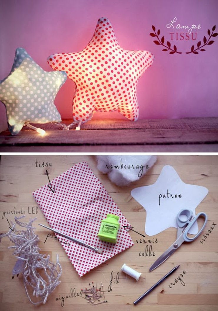 diy star fabric lamp