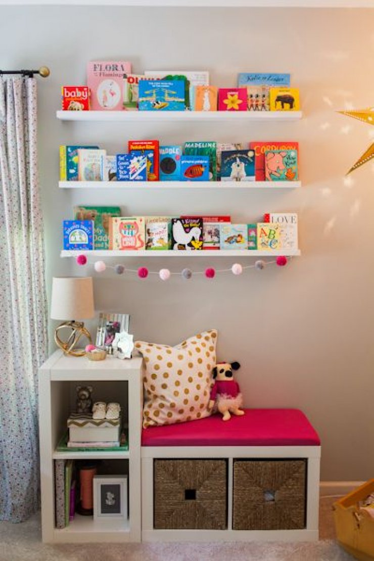 Ikea Expedit hacked into a reading corner for kids