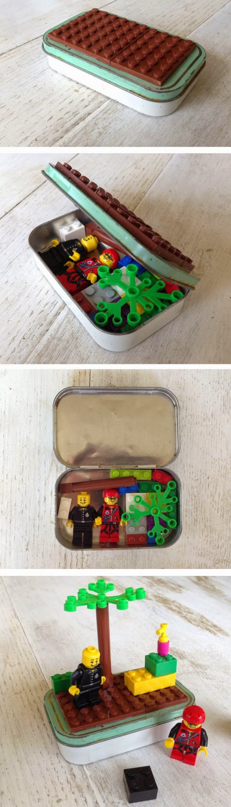 Lego portable play set in a mint tin