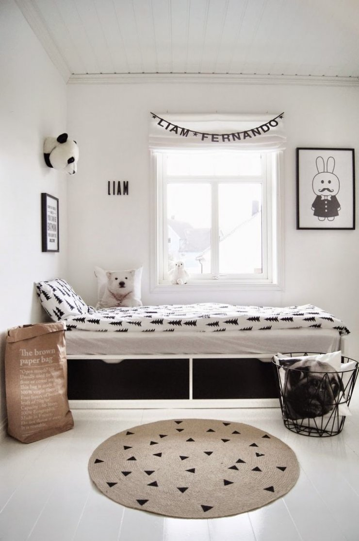 black and white boys' room