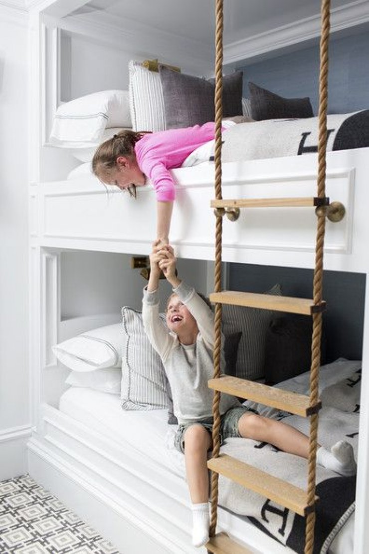 bunk bed with a rope ladder